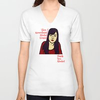 alcohol V-neck T-shirts featuring Parks April Thanks Alcohol by Kramcox