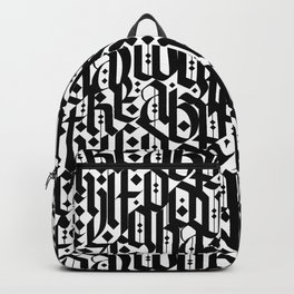 typography pattern 4 - seamless   calligraphy design - black and white Backpack