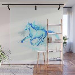Flame  Horse, aqua Wall Mural