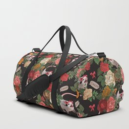 Opossum Floral Pattern (with text) Duffle Bag
