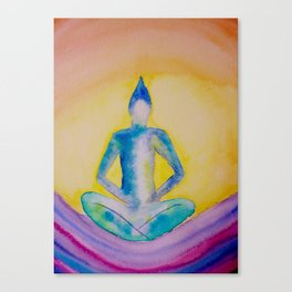 Sitting buddha on waves Canvas Print