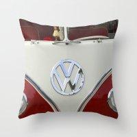 volkswagen Throw Pillows featuring Samba microbus hippiebus Volkswagen by Premium