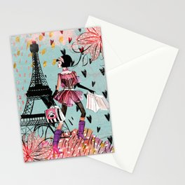 Fashion girl in Paris - Shopping at the EiffelTower Stationery Cards
