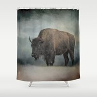 wildlife Shower Curtains featuring Stormy Day - Buffalo - Wildlife by Jai Johnson