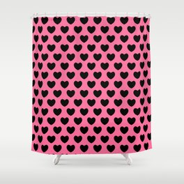 Black Hearts on Pink Shower Curtain