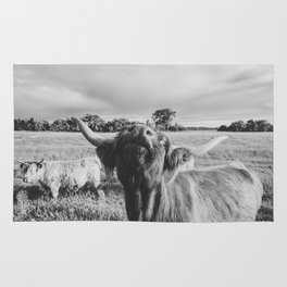 Black and White Highland Cow - Moo Rug