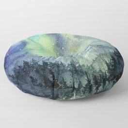 Northern Lights Magic Mountains Floor Pillow