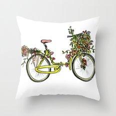 Flower-bike Throw Pillow