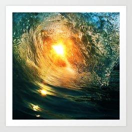 Beach - Wave - Sun - Sunset - Sundown - Ocean Art Print