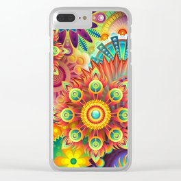 Psychedelic Flowers Clear iPhone Case