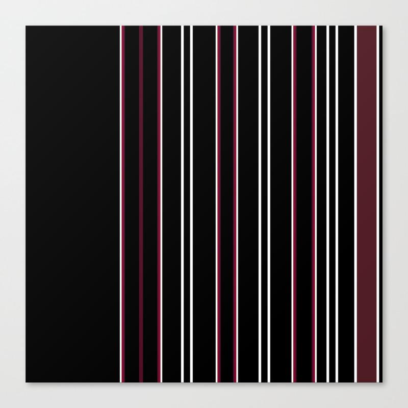Decorative Burgundy Black Stripe Design Canvas Print by Artaddiction45 CNV8864802