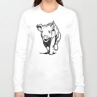 running Long Sleeve T-shirts featuring Running PIG by ARTito