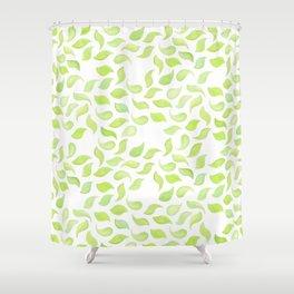 fresh mint leaves watecolor pattern Shower Curtain