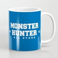 monster hunter Mugs featuring Monster Hunter All Stars - Blue Rippers by Bleached ink