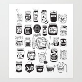 Jams and Chutneys Illustrated Alphabet Art Print