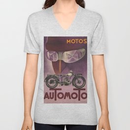 1930 Vintage Art Deco Advertising Poster Automoto Motos Bicycles Motorcycles Version 2 Unisex V-Neck