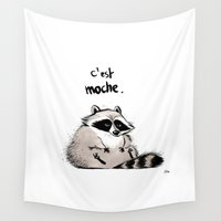 racoon Wall Tapestries featuring Racoon by chacomics