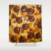 cheese Shower Curtains featuring Cheese  by Chelsea Victoria