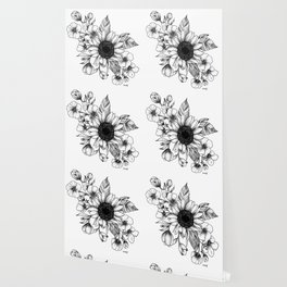 Bouquet of Flowers with Sunflower / Fall floral lineart Wallpaper