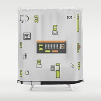 computer Shower Curtains featuring Computer Virus by Bakal Evgeny