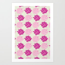 Peony Illustrated Pattern In Dreamy Pinks and Mint Green Art Print