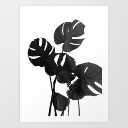 Monstera Leaves Black & White Vibes #1 #minimal #decor #art #society6 Art Print