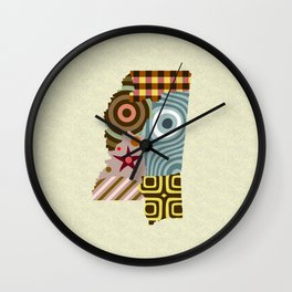 Mississippi State Map Wall Clock