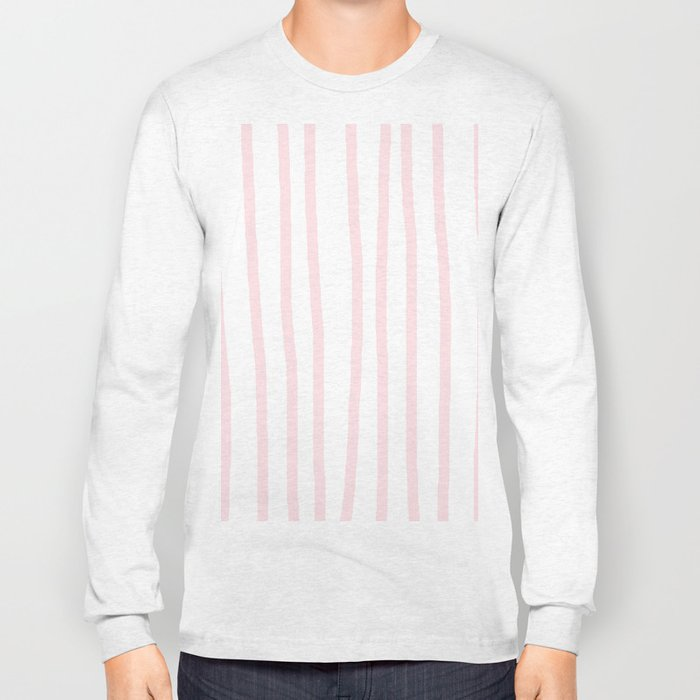 Simply Drawn Vertical Stripes in Flamingo Pink Long Sleeve T-shirt