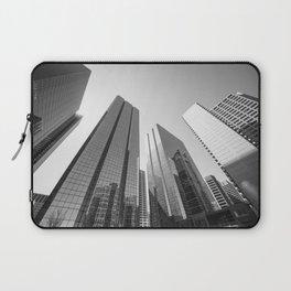 Calgary downtown Skyline in monochrome Laptop Sleeve