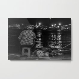 Fisherman in the night Metal Print