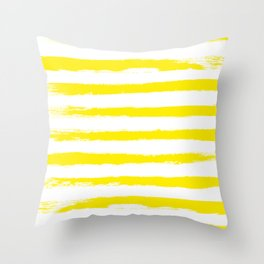 Sunny Yellow STRIPES Handpainted Brushstrokes Throw Pillow