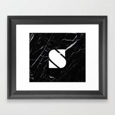 Black Marble - Alphabet S Framed Art Print