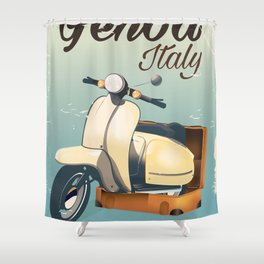 Genoa Italy Scooter travel poster Shower Curtain