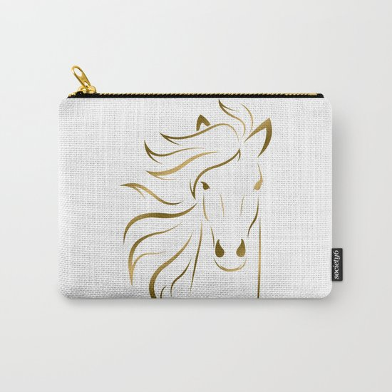 Golden Horse Drawing Carry-All Pouch