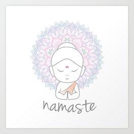 Cute Buddha sending greetings The word 'Namaste' is a respectful greeting also called 'Namaskar' Art Print