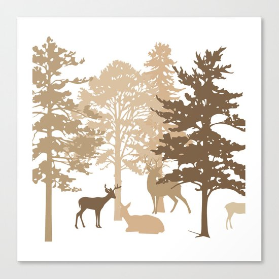 Morning Deer In The Woods No. 2 Canvas Print