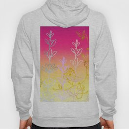 Metallic gold, rose gold, floral field Hoody