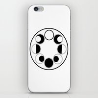 moon phase iPhone & iPod Skins featuring Moon Phase Circle by Mind Over Matter