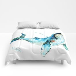 Humpback Whale Artwork Children Illustration Cute little Whale, whale design Comforters