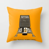 pixies Throw Pillows featuring 7 inch series: Pixies - Space (I believe in) / Motorway to Roswell by Gimetzco's Damaged Goods
