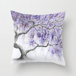 Purple Prosperity Tree Throw Pillow