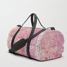 Pink Vintage Antique Oriental Traditional Moroccan Original Artwork Duffle Bag