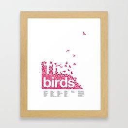 The birds / Red on white Framed Art Print