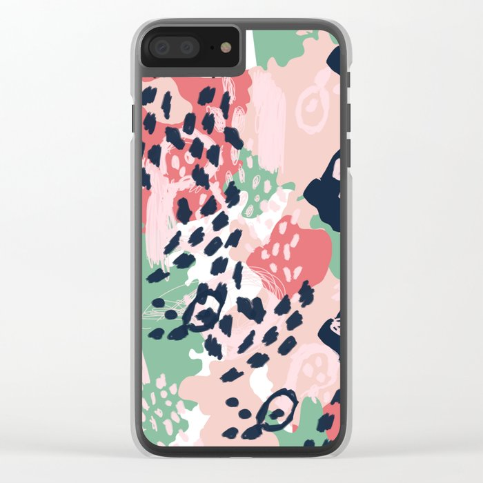 Brooklin - abstract minimal pink coral navy painting home decor abstract charlotte winter art Clear iPhone Case