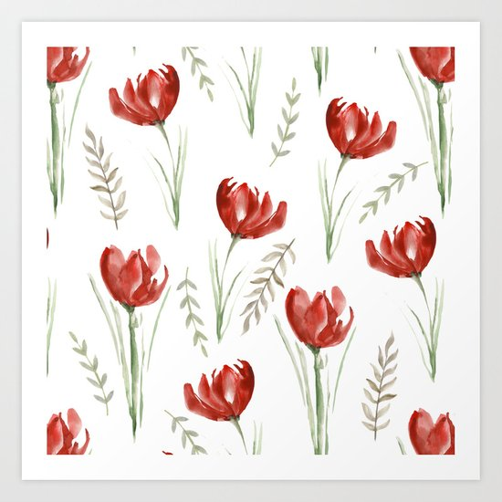 Red poppies. Watercolor Art Print