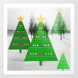 Christmastrees in snowlandscape Art Print