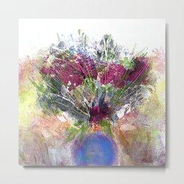 Burgundy Floral in Blue Vase Metal Print