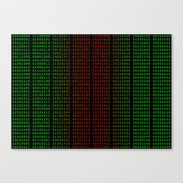 Binary Green and Red With Spaces Canvas Print