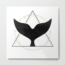 Black Gold Whale Tail Geometric Shapes Metal Print