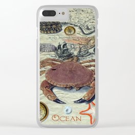 Crab And Ancient Map Clear iPhone Case